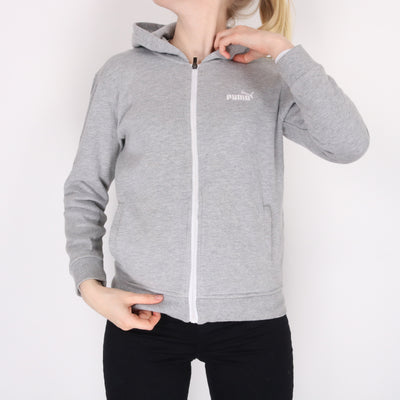 Puma - Grey Embroidered Zipped Hoodie - Small