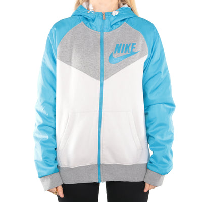Nike - Blue Printed Zip Up Hoodie- Medium