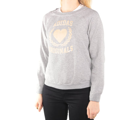Adidas - Grey Printed Crewneck Sweatshirt - Small