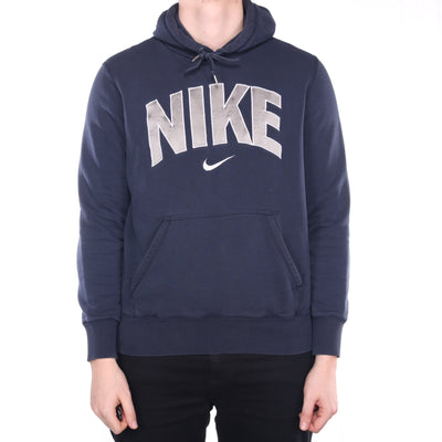 Nike - Blue Middle Swoosh Embroidered Hoodie - Large