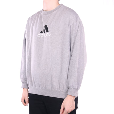 Adidas - Grey Embroidered Crewneck Sweatshirt - XLarge