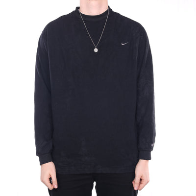 Nike - Black Embroidered Single Swoosh Crewneck Fleece - XLarge