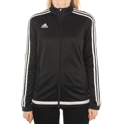 Adidas - Black Embroidered Zipped Jumper - Medium