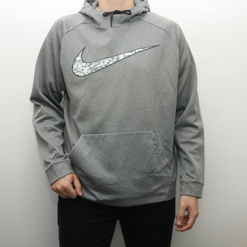 Nike - Grey Embroidered Swoosh Hoodie - XXLarge