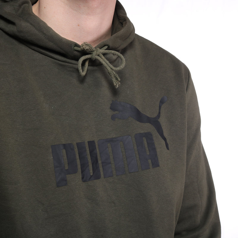 Puma  - Green Printed Spellout Hoodie - Large