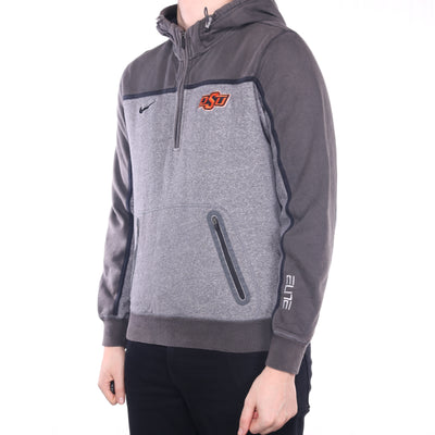 Nike - Grey Embroidered Quarter Zip Hoodie - XLarge