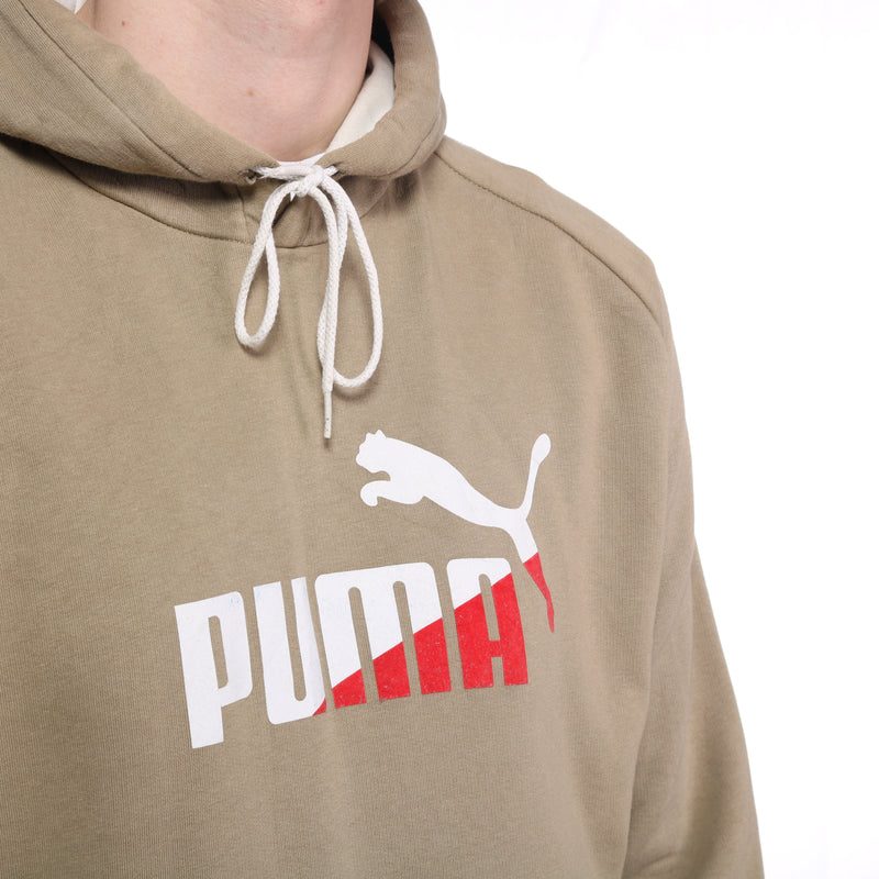 Puma - Brown/Green Spellout Hoodie - XLarge