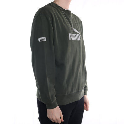 Puma - Black/Green Spellout Crewneck Sweatshirt - Large