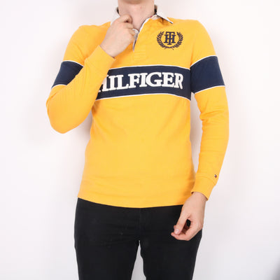Tommy Hilfiger - Yellow Spellout Long Sleeved Rugby Polo Shirt - XSmall