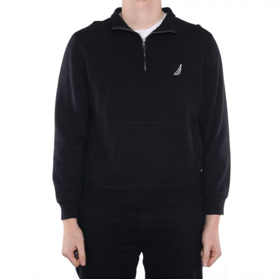Nautica - Black Embroidered Quarter Zipped Sweatshirt - Large