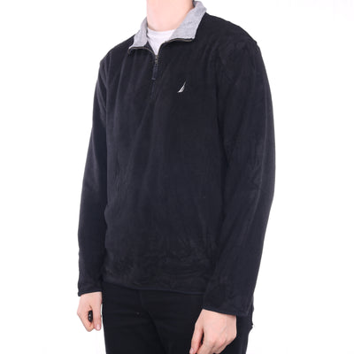 Nautica - Black Embroidered Quarter Zip Fleece - Large