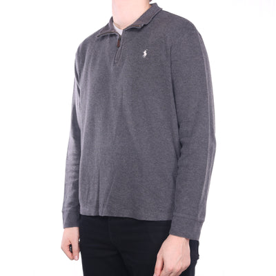 Ralph Lauren - Grey Embroidered Quarter Zip Jumper - Large