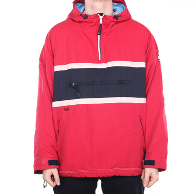 Tommy Hilfiger - Red Fleece Lined Quarter Zip Hoodie - XLarge