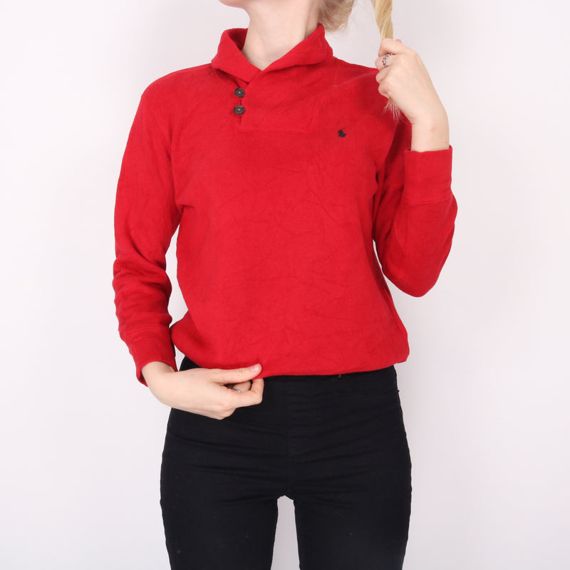 Ralph Lauren - Red Embroidered Quarter Button Jumper - Small