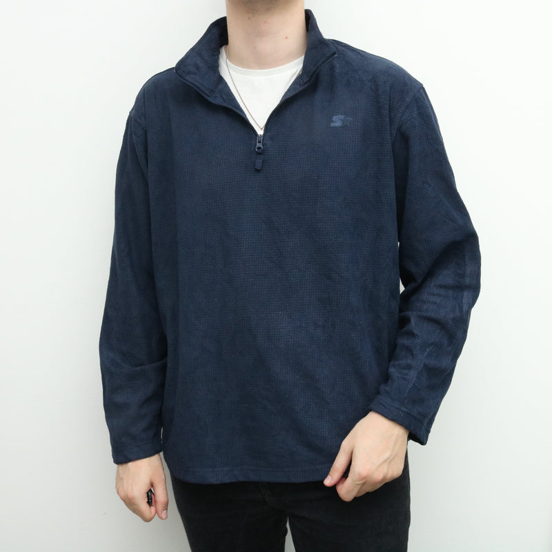 Starter - Blue Embroidered Quarter Zip Jumper - XXLarge