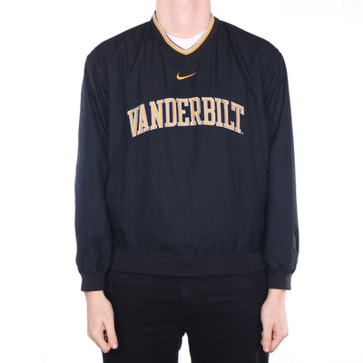 Nike - Black Embroidered Middle Swoosh College Pullover Windbreaker - Small