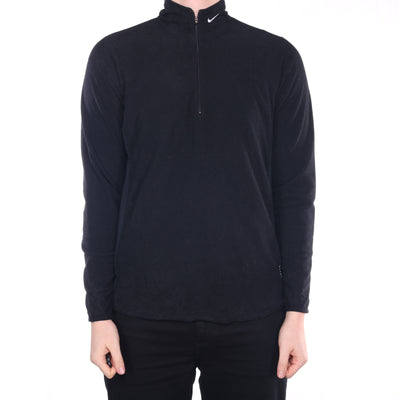 Nike - Black Embroidered Quarter ZIp Fleece - Medium