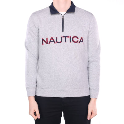 Nautica - Grey Embroidered Spellout Quarter Zip Sweatshirt - Medium