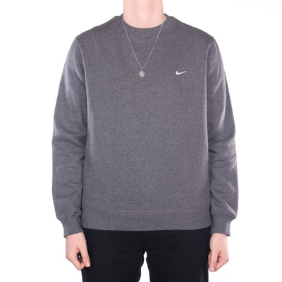 Nike - Grey Embroidered Single Swoosh Crewneck Sweatshirt - XLarge