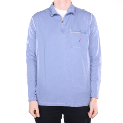 Nautica - Blue Embroidered Quarter Zip Sweatshirt - XLarge