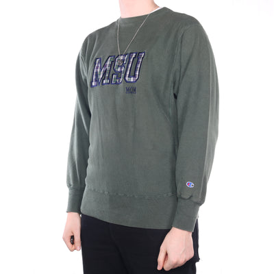 Champion - Green College Reverse Weave Crewneck Sweatshirt - Large