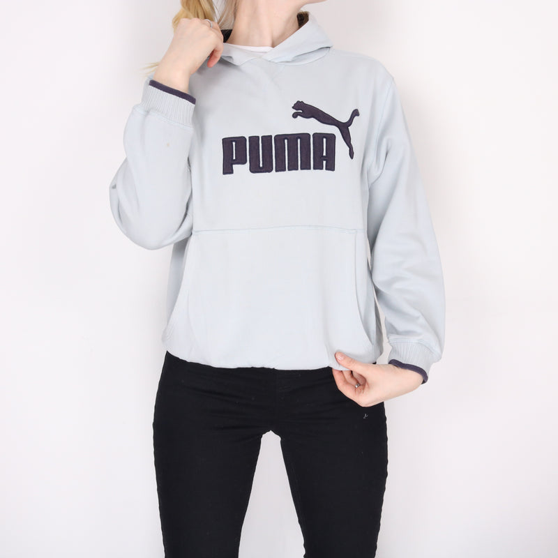 Puma -  Blue Embroidered Spellout Hoodie - Large