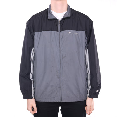 Champion - Grey and Black Embroidered Windbreaker - XLarge