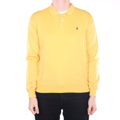 Ralph Lauren - Yellow Embroidered Long Sleeve Polo Shirt - Large
