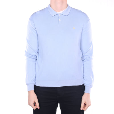Ralph Lauren - Blue Embroidered Long Sleeve Polo Shirt - Large