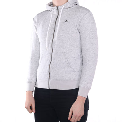 Adidas - Grey Embroidered Zipped Hoodie - Small