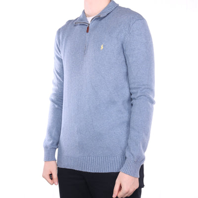 Ralph Lauren - Blue Embroidered Quarter Zip Jumper - Medium