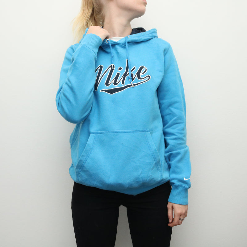 Nike - Blue Embroidered Spellout Hoodie  - Large