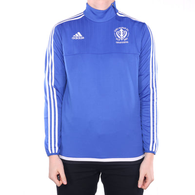 Adidas - Blue Embroidered Sports Sweatshirt - Large
