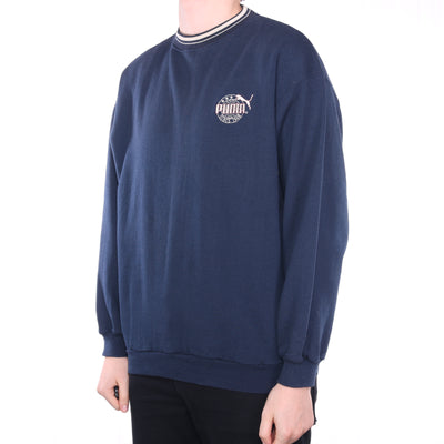 Puma - Navy Embroidered Crewneck Sweatshirt - XLarge