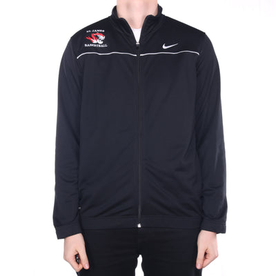 Nike - Black Embroidered Full Zip Sweatshirt - Large