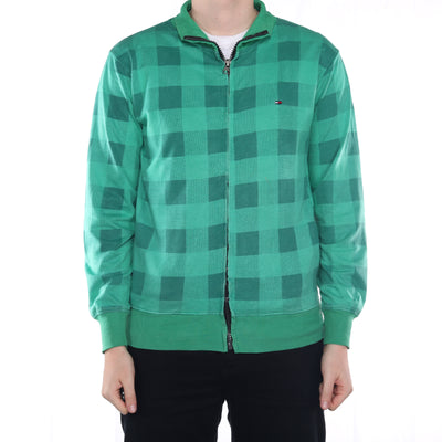 Tommy Hilfiger - Green Checkered Embroidered Zipped Sweatshirt - Large