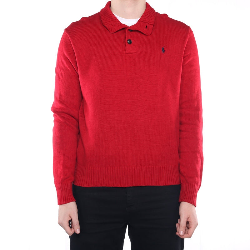 Ralph Lauren - Red Embroidered Quarter Button Jumper - XLarge