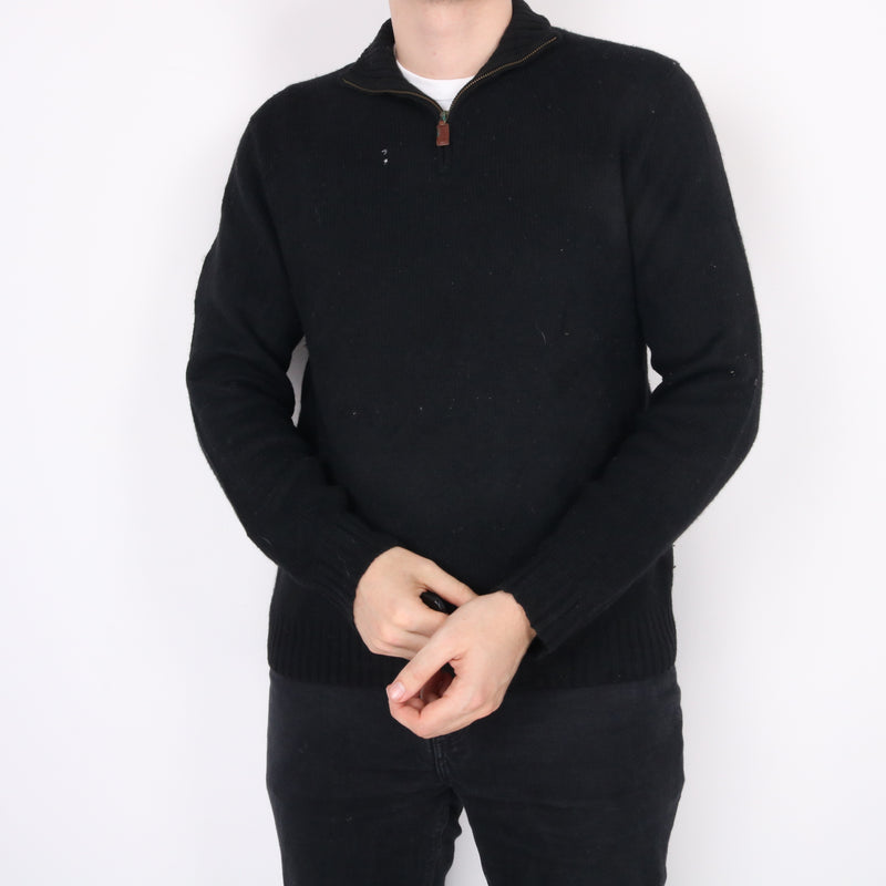Ralph Lauren - Black Embroidered Quarter Button Jumper - Large