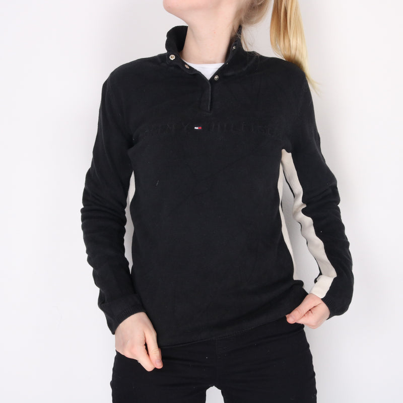 Tommy Hilfiger  - Black Embroidered Quarter Zip Jumper- Medium