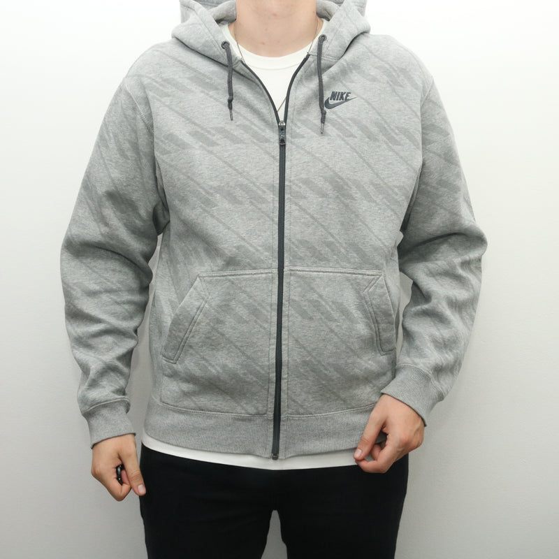 Nike - Grey Embroidered Zip Up Hoodie - Large