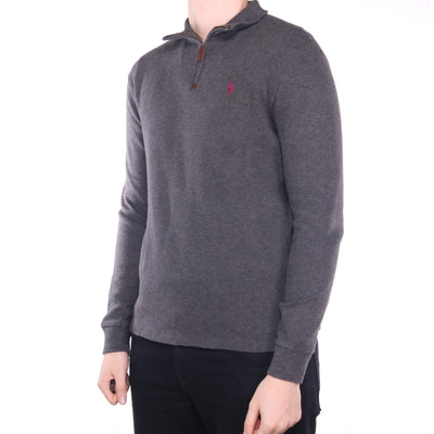 Ralph Lauren - Grey Embroidered Quarter Zip Jumper - Medium