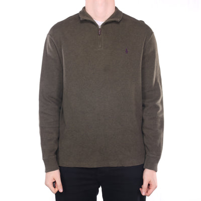 Ralph Lauren - Green Embroidered Quarter Zip Jumper - Large
