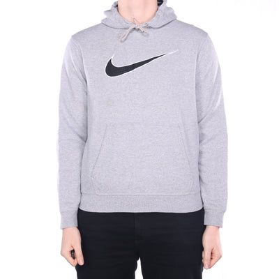 Nike - Grey Embroidered Swoosh Hoodie - Medium