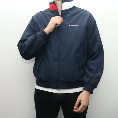 Tommy Hilfiger - Blue Embroidered Windbreaker with Hood - Small