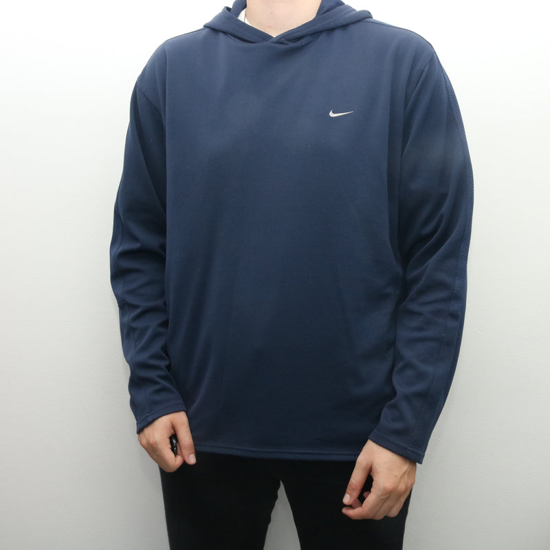 Nike - Blue Embroidered Single Swoosh Hoodie - XLarge