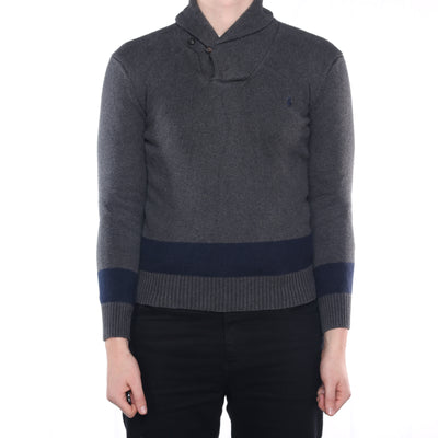 Ralph Lauren - Grey Embroidered Quarter Button Jumper - Small