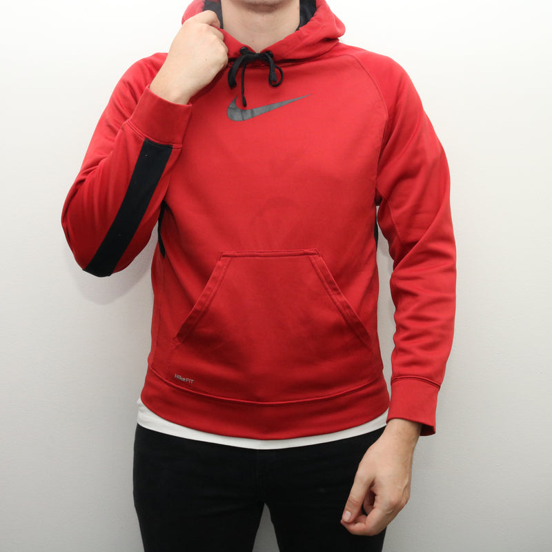 Nike - Red Middle Swoosh Hoodie - Small