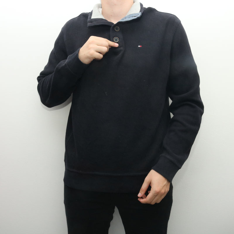 Tommy Hilfiger - Black Embroidered Quarter Button Jumper - XLarge