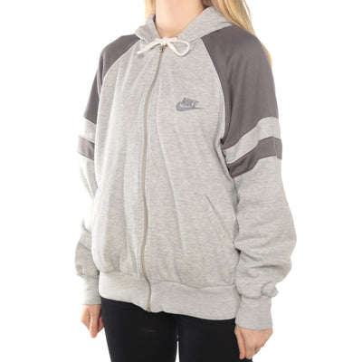 Nike - Grey Embroidered Zipped Hoodie - Large
