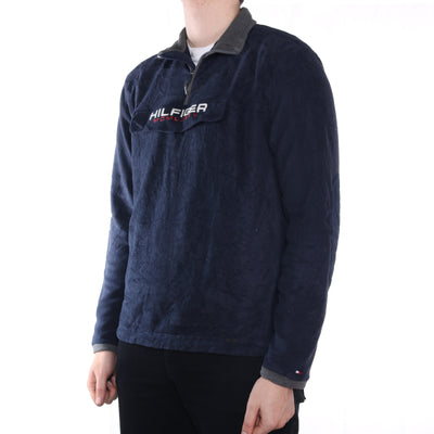 Tommy Hilfiger - Navy Embroidered Spellout Fleece - Large